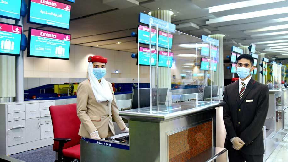 Emirates counter at Dubai Airport