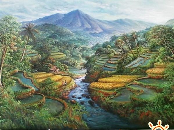 Gambar Lukisan Hubungan Manusia Dengan Alam Pemandanganoce