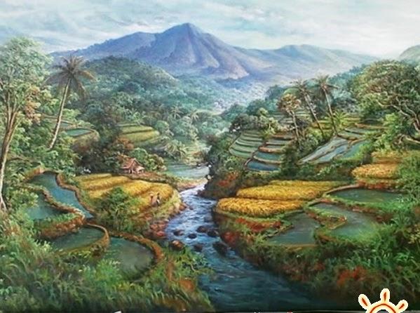 Gambar Lukisan Manusia Dengan Alam Sekitar  Koleksi Gambar HD
