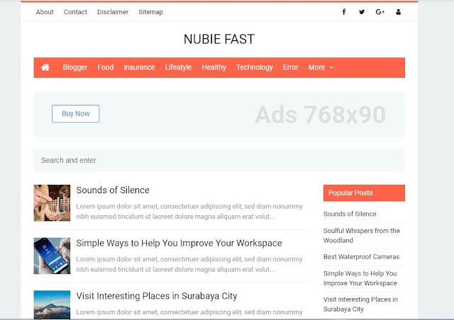 Nubie Fast - Template Blog Super Cepat