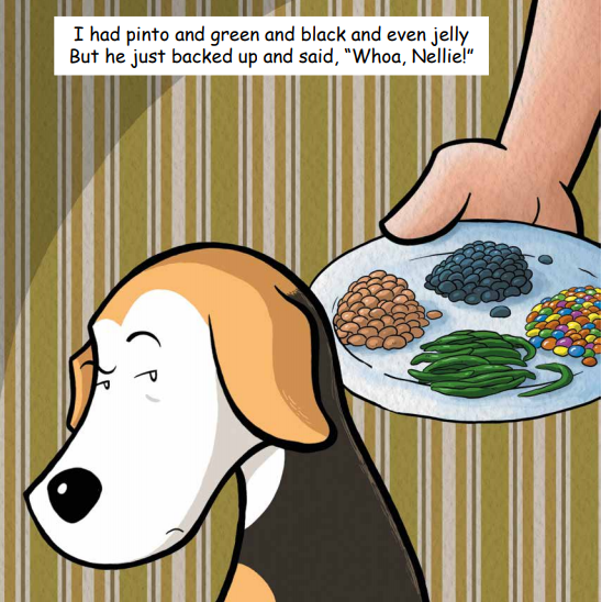Waffle is unsure about the selection of foods before him in Waffle Likes Falafel by Carrie Steinweg. Illustration by Nicolas Peruzzo.
