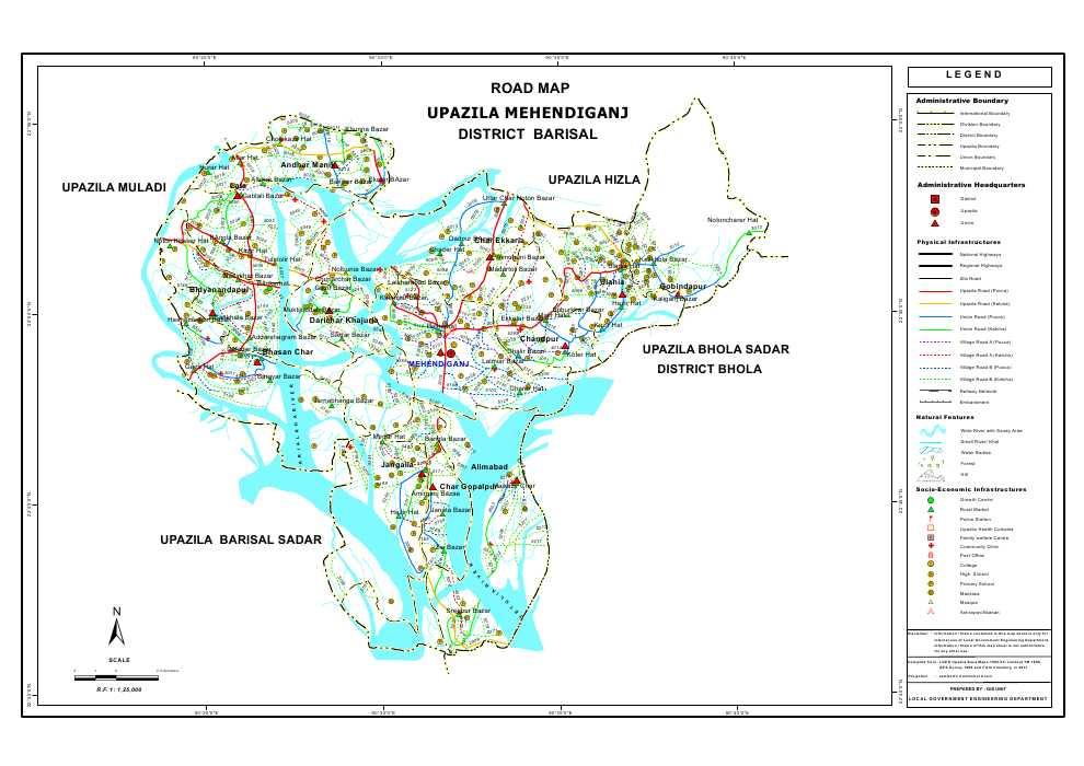 Mehendiganj Upazila Road Map Barisal District Bangladesh