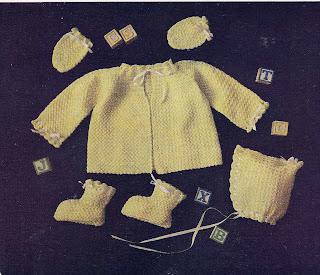 Yellow Baby Layette Pattern, jacket, Bonnet, Booties mittenns