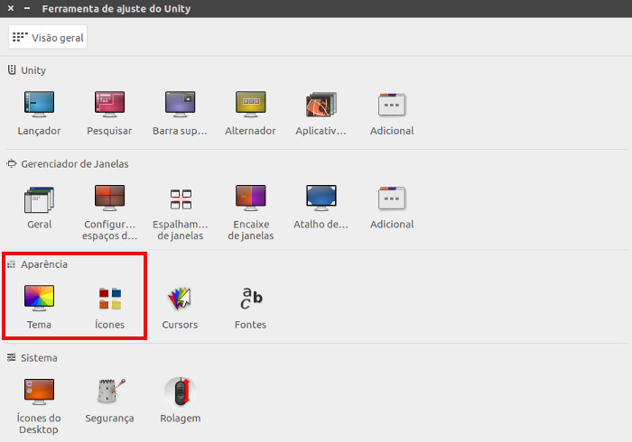 alterar tema e icones no ferramenta de ajuste o unity no ubuntu