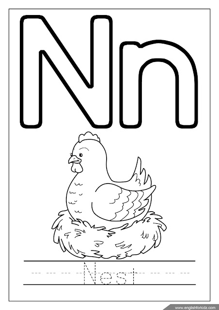 Letter n coloring, nest coloring, alphabet coloring page
