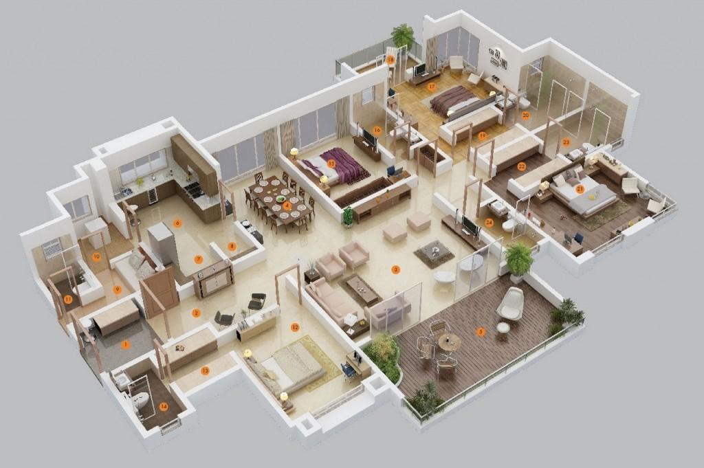 60 Planos de una casa moderna de una sola planta de cuatro dormitorios