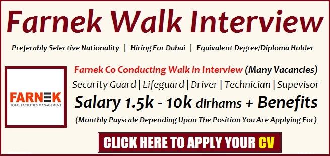 Farnek Careers Dubai Announced New Jobs Walk in Interview