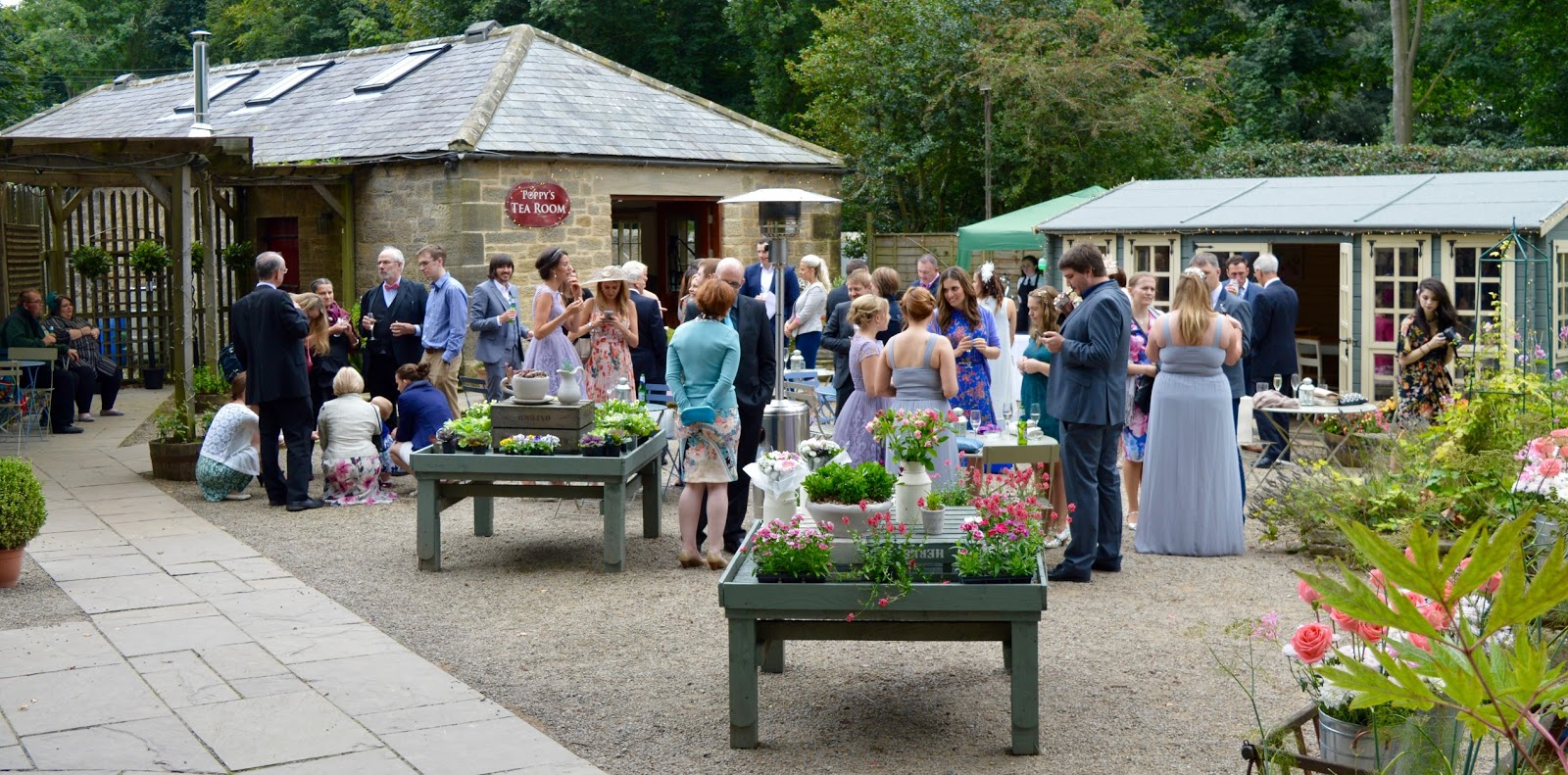 Weddings at The Parlour at Blagdon in Northumberland - drinks reception in the garden