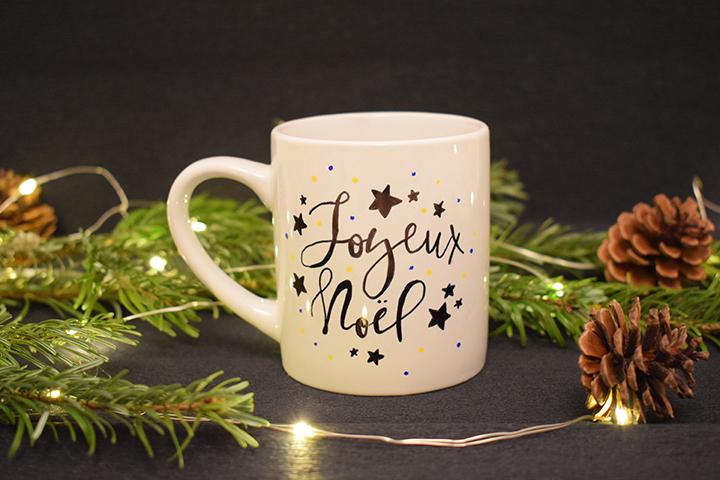 DIY facile mug personnalisé Noël feutres porcelaine
