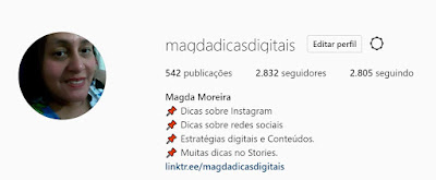 Perfil no Instagram Magdadicasdigitais
