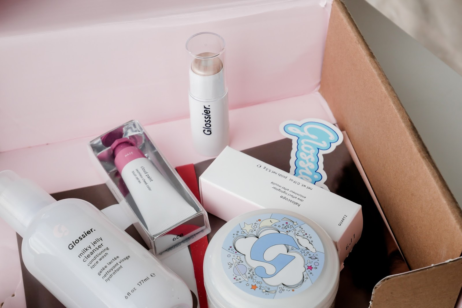 Glossier products in box shipped to uk