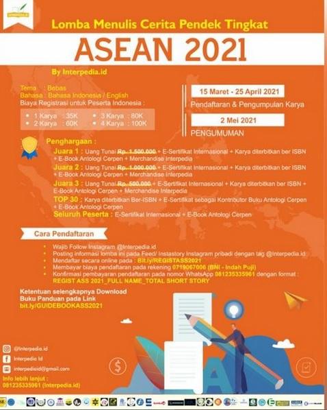 LOMBA MENULIS CERPEN TINGKAT ASEAN 2021, DIPERPANJANG HINGGA 25 APRIL 2021