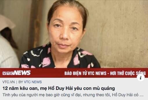 Ngòi bút máu, vô nhân đạo, bưng bô của phóng viên VTC về bài viết người mẹ của Hồ Duy Hải