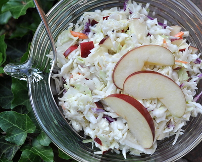 Easy Coleslaw with Blue Cheese & Apple, another easy healthy salad ♥ AVeggieVenture.com, 3 ingredients + 5 minutes puts salad on the table!