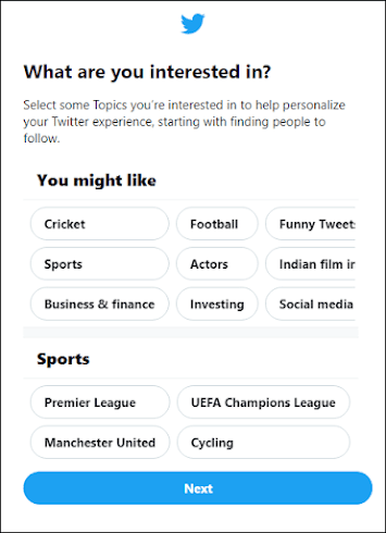 Select your interests on twitter