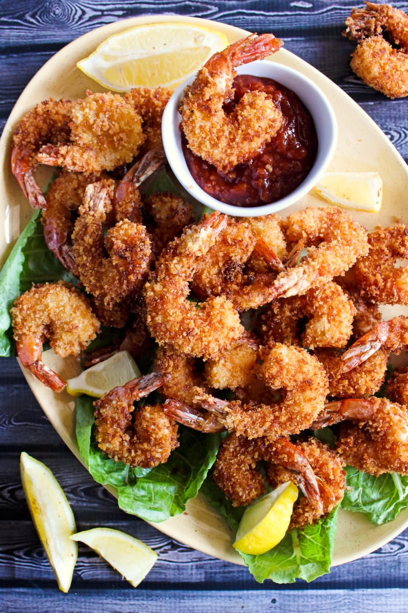 This is The Best Pan-Fried Shrimp recipe!  The shrimp are super crispy, seasoned just right, and rival shrimp from a restaurant! #shrimp #castiron #dinner