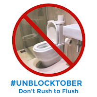 A white toilet within a red No Entry style circle, with the words 'don't rush to flush #Unblocktober' underneath