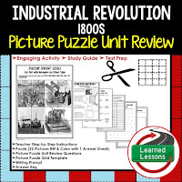 Industrial Revolution Picture Puzzle,  TEST PREP, UNIT REVIEWS, TEST REVIEWS, and STUDY GUIDES