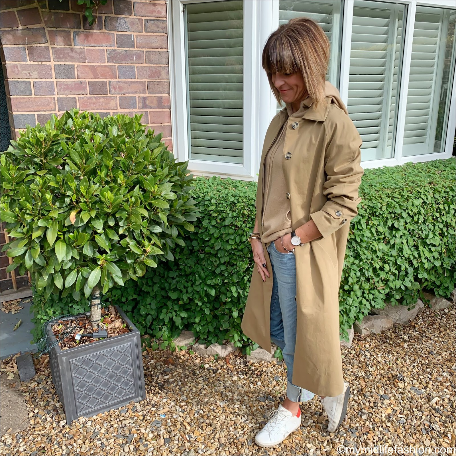 my midlife fashion, marks and Spencer car coat, marks and Spencer pure cashmere hoodie, golden goose superstar low top leather trainers, j crew deep turn up straight leg jeans