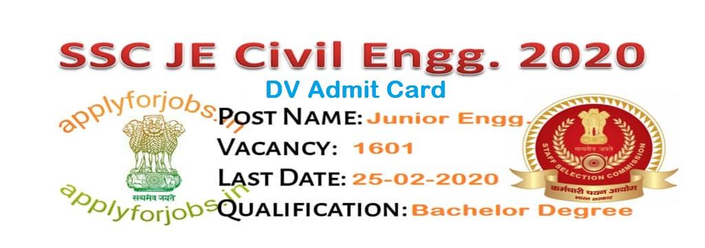 SSC JE Civil Engineering DV Admit Card 2018, applyforobs.in