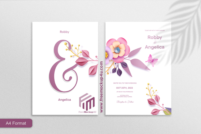 Double Sided Paper Style Floral Wedding Invitation 01