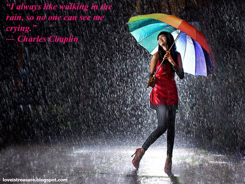 Images Of Lovers In Rain: Love Is Treasure: Rain Wallpapers With Quotes