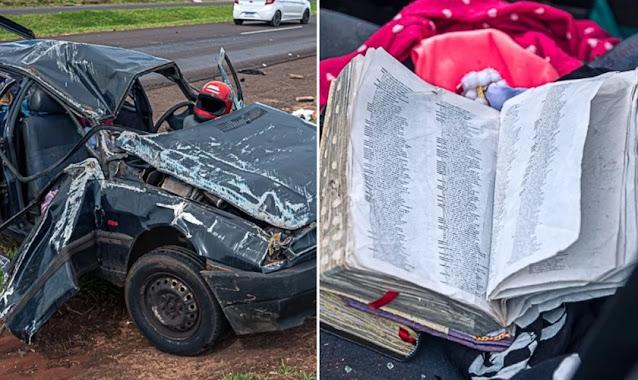 Com Bíblias no carro, motorista sobrevive milagrosamente a capotamento no Paraná