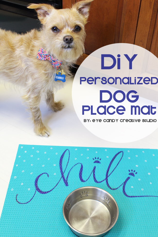 DIY craft, craft for your dog, personalized dog placemat, hand lettering