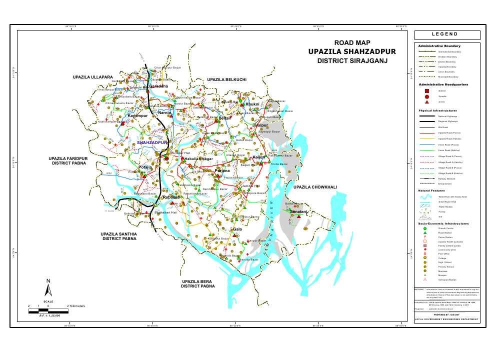 Shahjadpur Upazila Road Map Sirajganj District Bangladesh