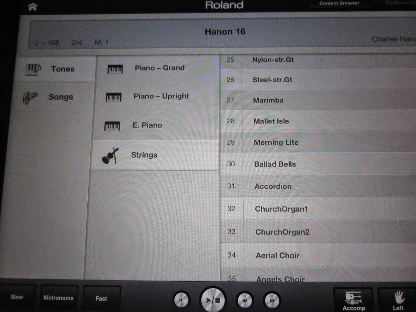 Roland LX15e digital piano Piano Partner iPad app