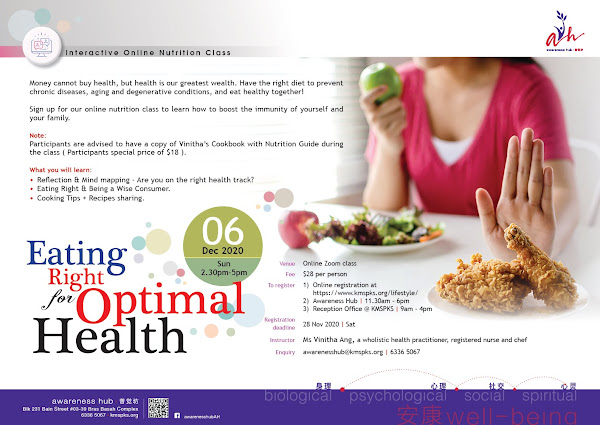 Eating Right for Optimal Health - Interactive online class