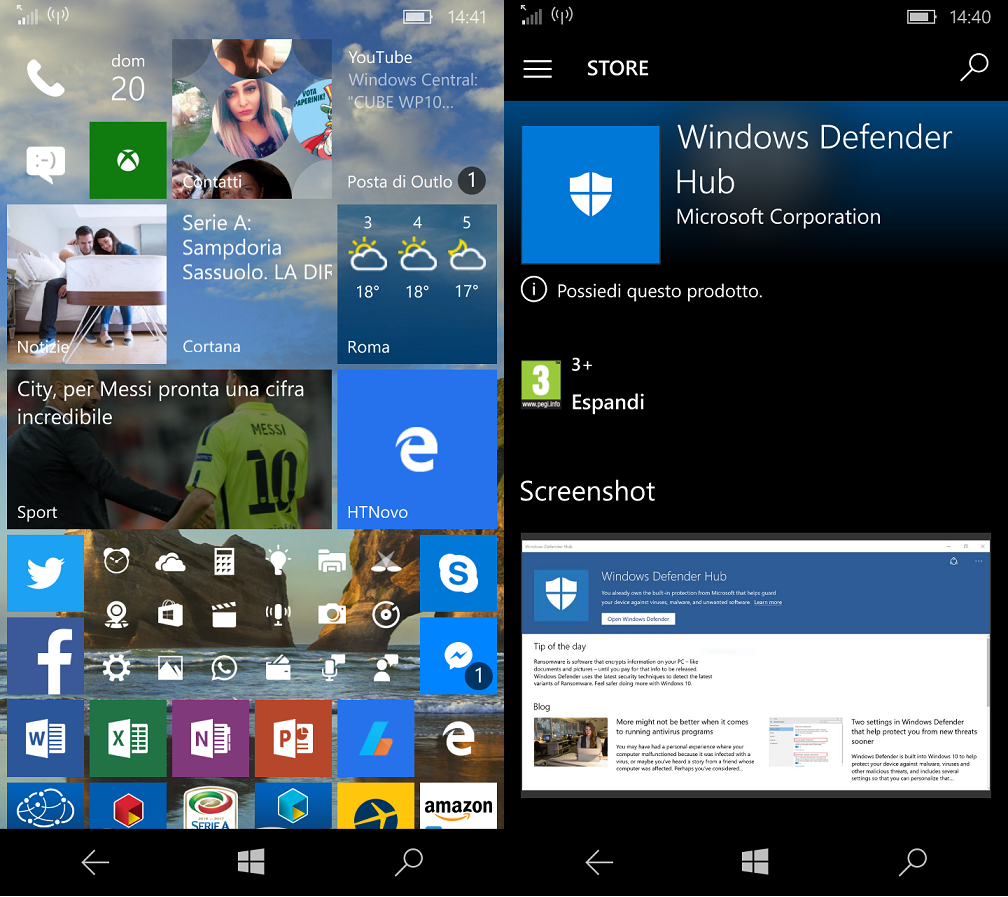 Windows Defender Hub App Windows 10 Mobile