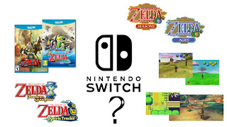 The Nintendo Switch logo in black surrounded by various Zelda games either in the form of the logos, screenshots or box arts, with a question mark below