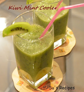 Kiwi Mint Cooler, summer cooler, cool drink, kiwi juice