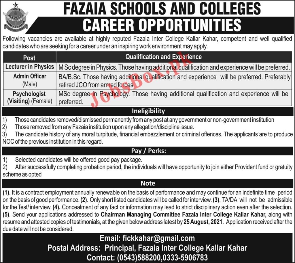 Fazaia Inter College Kallar Kahar Jobs 2021 in Pakistan