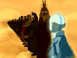 a line of past Avatars, stretching into the distance, ending with Roku looking down at Aang