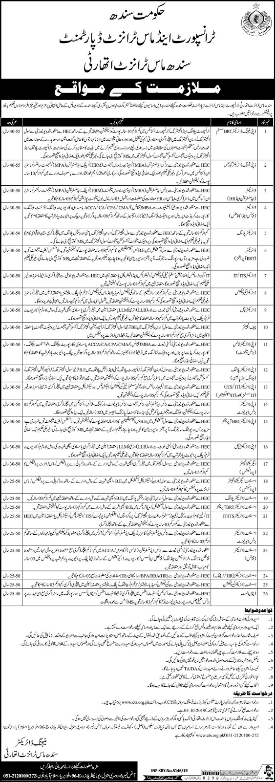 Advertisement for Transport and Mass Transit Department Sindh Jobs September 2019