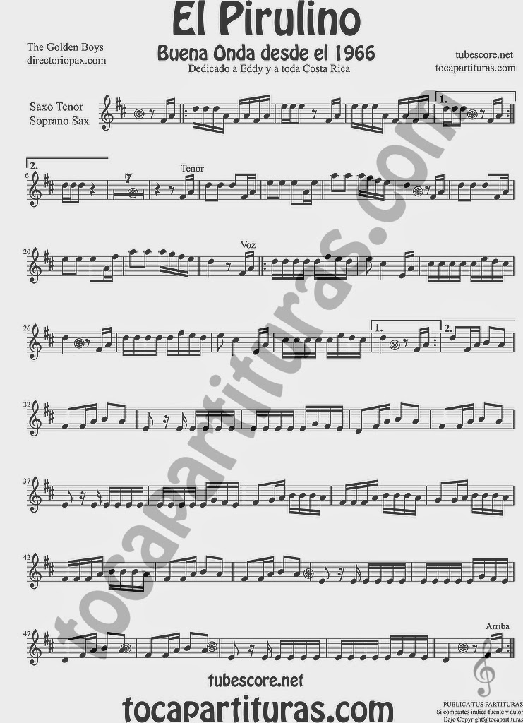 El Pirulino Partitura de Saxofón Soprano y Saxo Tenor Sheet Music for Soprano Sax and Tenor Saxophone Music Scores by The Golden Boys para Costa Rica