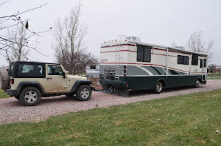 motorhome towing a Jeep