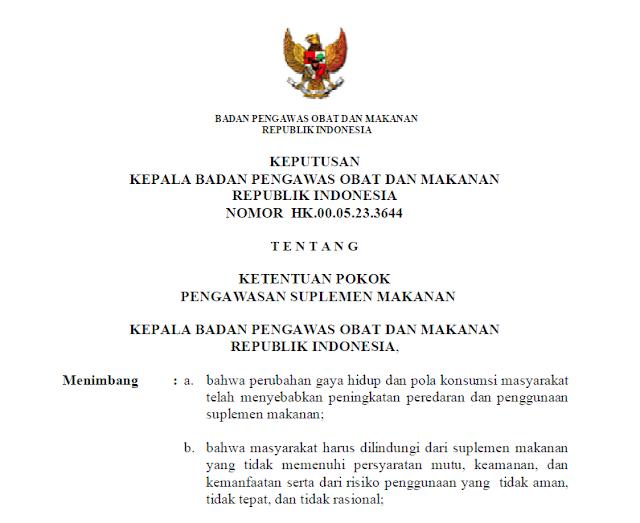 Keputusan Badan POM Tentang Tumbuhan, Hewan dan Mineral Yang Dilarang Digunakan dalam Suplemen Makanan