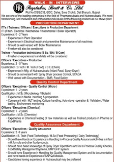 Raptakos Brett & Co. Limited Recruitment ITI, B.Tech, M. Tech, BE,  M.Sc Candidates For Production, QC and QA Departments