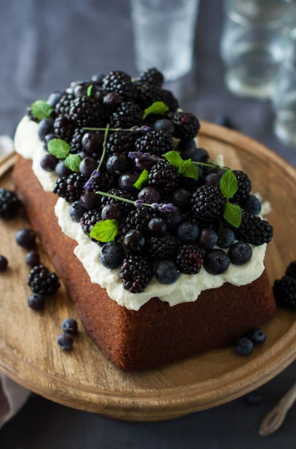 BLUEBERRY LAVENDER POUND CAKE WITH LEMON MASCARPONE CREAM
