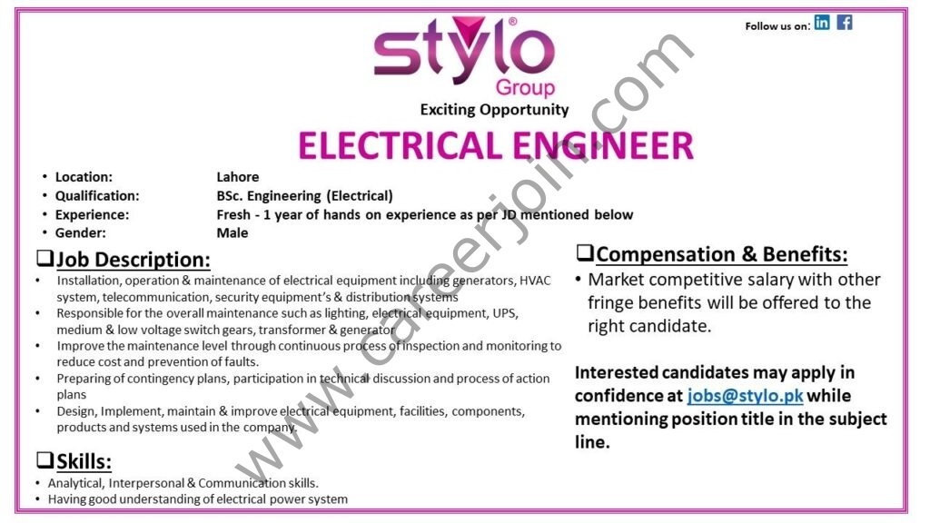 Stylo Pvt Ltd Jobs Electrical Engineer