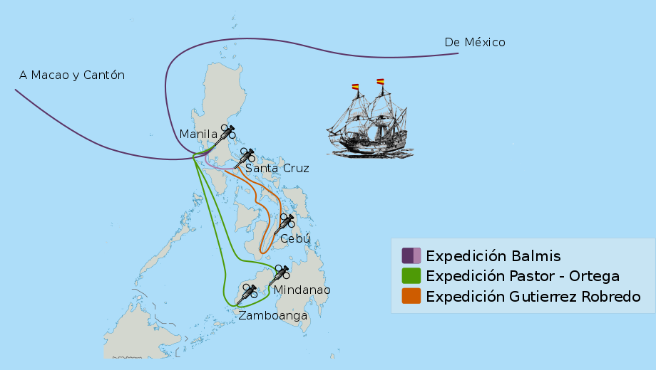 The route of the Balmis Expedition in the Philippines.