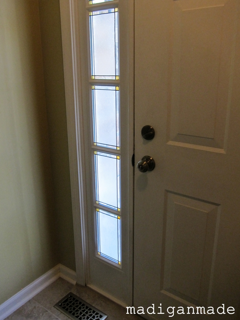 Remodelaholic adding privacy to sidelights faux stained for The door and the window
