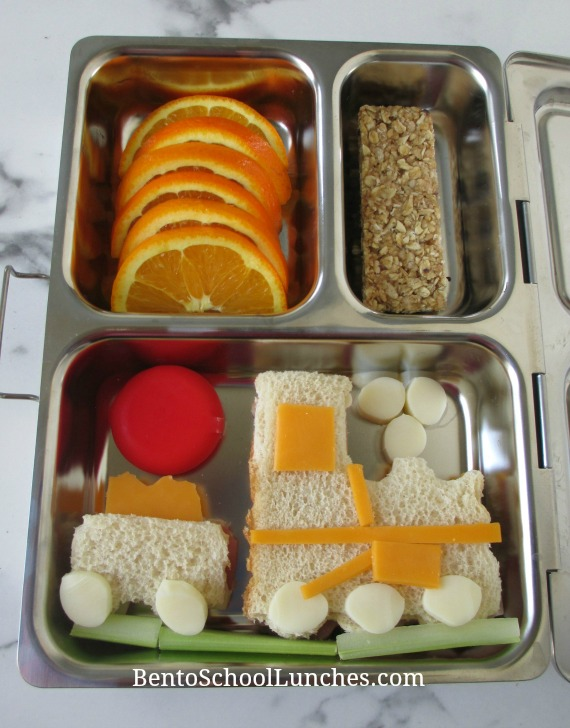 Train with coal car bento lunch in a Planetbox
