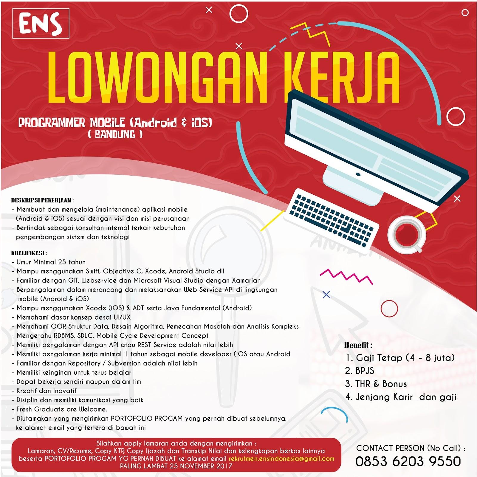 Lowongan Kerja Programmer Mobile Android & IOS ( Bandung ) ENS Indonesia November 2017