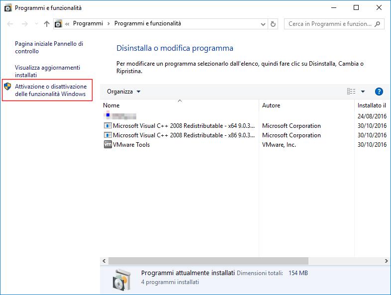 Windows 10, Attivazione o disattivazione delle funzionalità Windows