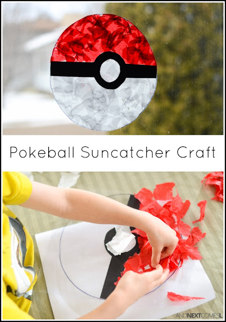 Pokemon craft for kids - make a Pokeball suncatcher from And Next Comes L