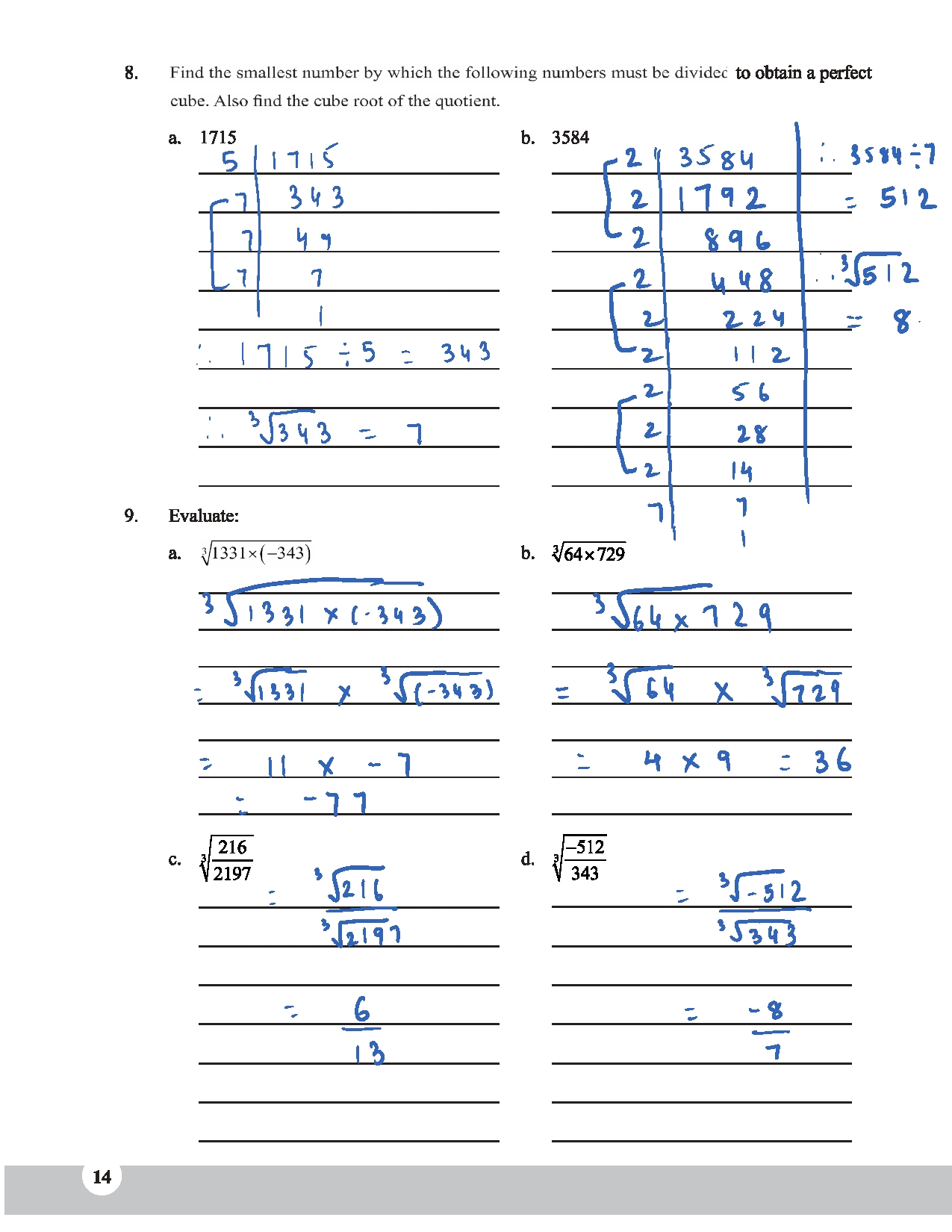 Math Ch 3 Cube And Cube Roots Workbook Answer Scheme